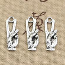 8pcs Charms hand sign v peace 25*9mm Antique Making pendant fit,Vintage Tibetan Silver,DIY bracelet necklace(China)