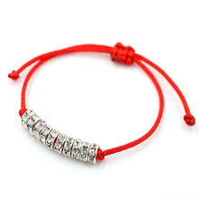 AoSong Lucky color Silver Crystal zircon Amulet bracelet Red rope thread string braided men women Reiki hombres Chakra pulseira