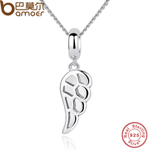 BAMOER Classic 925 Sterling Silver Angle Wings Feather Charms Pendant Necklace Women Wedding Fine Jewelry CC032(China)