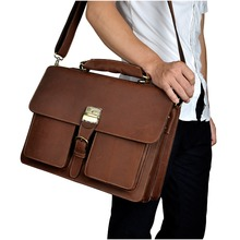 Cattle man bag Tote  vintage crazy horse leather male briefcase commercial genuine leather Laptop Tote  bag Tote 1031