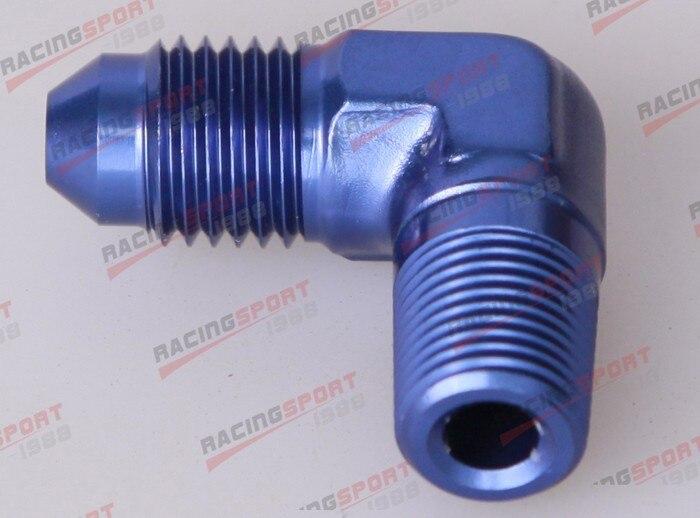 8AN AN-8 AN8 90 Degree Bulkhead Fitting Adapter Aluminum Blue