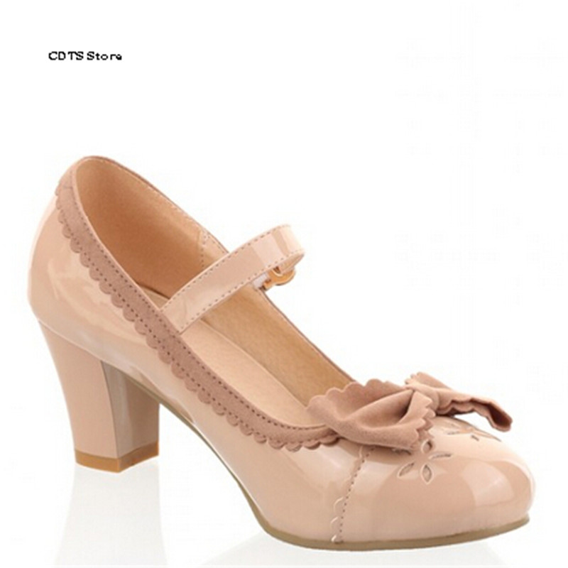 CDTS Sweet single bowtie young girl soft outsole high-heeled shoes woman vintage japanned leather shallow mouth female pumps<br><br>Aliexpress
