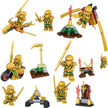 31019 New arrival 8pcs/lot Ninjagoes golden Ninja soldier Jay Lloyd with weapon Figures Toy Bricks Model For Kids Gift Rated