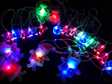 Xmas 4m Merry Christmas LED String Lights Bulb AC 110~220V 20leds RGB Santa Claus Snowmen Letter Strings for Trees Window Deco