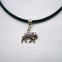 1 Pcs Tibetan Silver 3D Indian Elephant  Charm 13' 3mm Black Real Leather Chain Choker Necklace Pendants