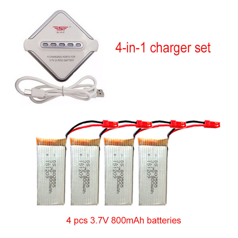 Free Shipping!4 pcs 800mAh Li-Po Battery&amp;JST 4in1 Plug Charger For JJRC H12C F181 Drone<br><br>Aliexpress