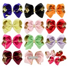 3.6Inch 10 colors Lovely Bow Girls Solid Ribbon Bows With Clip Boutique Hair Clip Hairpin Hair Accessories 655(China)