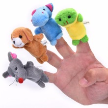 10 Pcs/Lot Cute Hand Toy Cartoon Animal Finger Puppet Biological Animal Finger Puppet Plush Toys For Children's Favor Dolls(China)