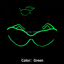 Halloween Xmas Party Love-Shaped Green Flexible DC3V EL Cold Light Sunglasses Holiday Lighting Neon Led Light Heart Eyeglasses(China)