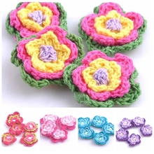 20pcs/lot Sewing Accessories Pink Flower Shape Handmade Sew-on Appliqued Crochet Knitted Applique Scrapbooking 3.5cm CP0553