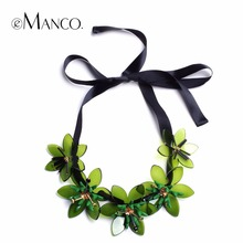 eManco Trending Now 4 Color Flowers Statement Necklace & Pendant Women Green Resin Rhinestones Ribbon Adjustable Brand Jewelry(China)