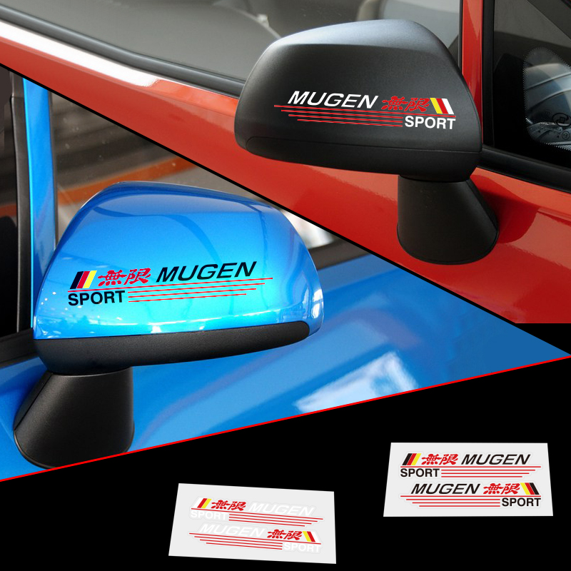 Aliauto 2 X Reflective Car Rearview Mirror Sticker and Decal Mugen Sport for Honda Civic Accord Crv Fit City luces led de policía