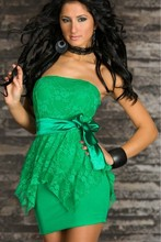 DHL Free Shipping ML17852 New Batch Green Stripless Sheath Lace 2013 Sexy Fashion Dress(China)