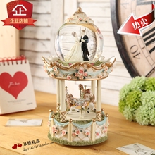 The bride music box crystal ball carousel music box bestie married the Qixi Festival Valentine Gift Ideas(China)