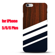 New Deluxe Wooden Pattern Navy Blue strip Plastic Phone Case for iPhone 5 5s 6 6s 7 8 Plus capa funda Beautiful looking