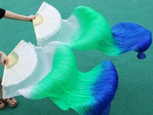 2016 female high quality Chinese silk veils dance fans Pair of belly dancing fans cheap hot sale white+green+royal blue