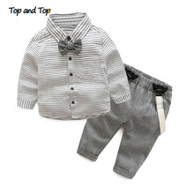 2016 spring autumn baby boys clothing set Gentleman long-sleeve stripe Bow tie shirt + suspenders newborn infant clothes suit