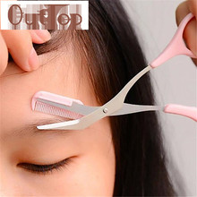 2017 Pink Eyebrow Trimmer Scissors With Comb Lady Woman Men Hair Removal Grooming Shaping Shaver eye brow trimmers Eyelash MY273