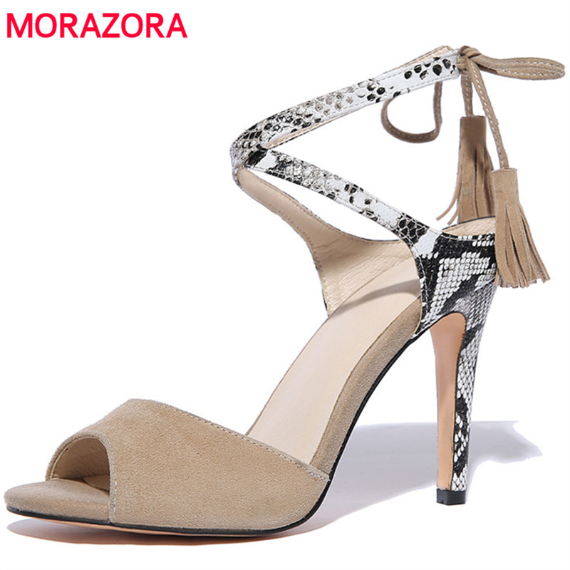 MORAZORA Thin heels shoes woman 10cm sexy lady summer shoes fashion party women sandals party shoes kid suede open-toed<br>