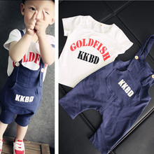 2017 summer new children's clothing boys suit 1-4 years old baby boy short sleeve t shirts + Bib suits 2 pcs Clothing Sets(China)