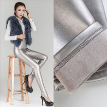 Women Winter Thick Metalic Leather Fleece Leggings Fashion High Waist Matte Black/Silver Solid Metal Colors Stretch Pant(China)
