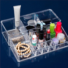 2016 Fashion Clear Crystal Makeup Cosmetic Box Jewelry Box Acrylic Storage Organization 14 Lattices Available High Capacity Hot