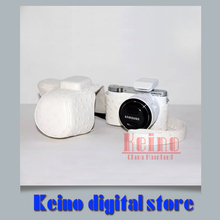 White Leather PU Protective Bag case Professional holster Ostrich grain for Sa&sung NX3000 NX3300 16-50 20-50mmcamera