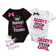 New Daddy Little Girl Letter Cotton Newborn Infant Baby Girls Mommy Little Princess Body suit Romper Jumpsuit Clothes Outfits(China)