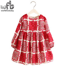 Retail 2-8 Milan Princess Dress Flax China Red Long Sleeve Clothing Baby Girl Cute Korean Floral Print Spring fall 2016 New