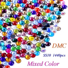 SS10 Mixed Color DMC Hotfix Rhinestone Glass Crystals Stones Hot Fix Iron-On FlatBack Rhinestones With Glue