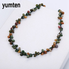 Yumten Aquatic Agate Necklace Natural Stone Crystal Agate Jewelry Romantic Fashion Women Boutique Pendant Hand-Woven Beads Jade(China)
