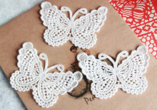 New Fashion Butterfly Pattern Applique Lace Trim Sewing DIY Crochet Embroidered Craft(China)