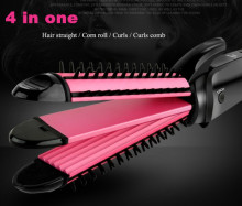 3 in 1 Styling Tool Personal hair curler Multi Curler Straightener Professional Hair Curling Iron Brish Hair Styler Wavy Roller(China)