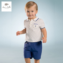DB3526 dave bella summer baby boys blue printed clothing set kids sailor stylish clothes boys cool soft clothing set