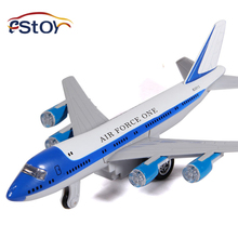 18CM Alloy Diecast Plane Model Simulation Air Force One fighter Model Pull Back Light&Sound Aircraft Model Gift for Kids