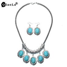 Qiao La Elegant Oval Created Turquoises Jewelry Sets Pendant Necklace & Earring Women Party Fashion Accessories dropshipp BA2004