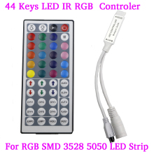 44 Keys LED IR RGB mini Controler For RGB SMD 3528 5050 LED Strip LED Lights Controller IR Remote Dimmer Input DC5V/12V24V 6A