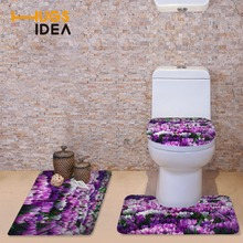 HUGSIDEA Pretty Floral Style Toilet Seat Cover Soft Flannel Bathroom Carpet Thick Warmer WC Pad Toilet Accessories Set 3pcs/set(China)