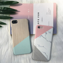 NEW Luxury Frosted Case For iPhone 6 6S Plus Splicing Together Contrast Color Marble Back Cover for iPhone 7 7 Plus Phone Cases