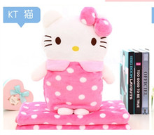 Cute cartoon Plush soft hello kitty doll office cushion + warm blanket stuffed toy children girl birthday gift 1set