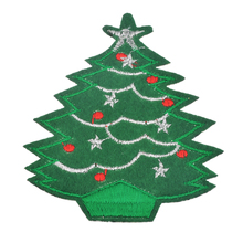 Urijk 5Pcs/Set Christmas Tree Cartoon Embroidered Patch For Jeans Iron On Motif Applique DIY Craft Stickers Christmas Decor