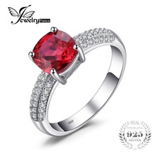 JewelryPalace Cushion 2.6ct Created Red Ruby Solitaire Engagement Ring 925 Sterling Silver Ring Fashion Design Fine Jewelry(China)