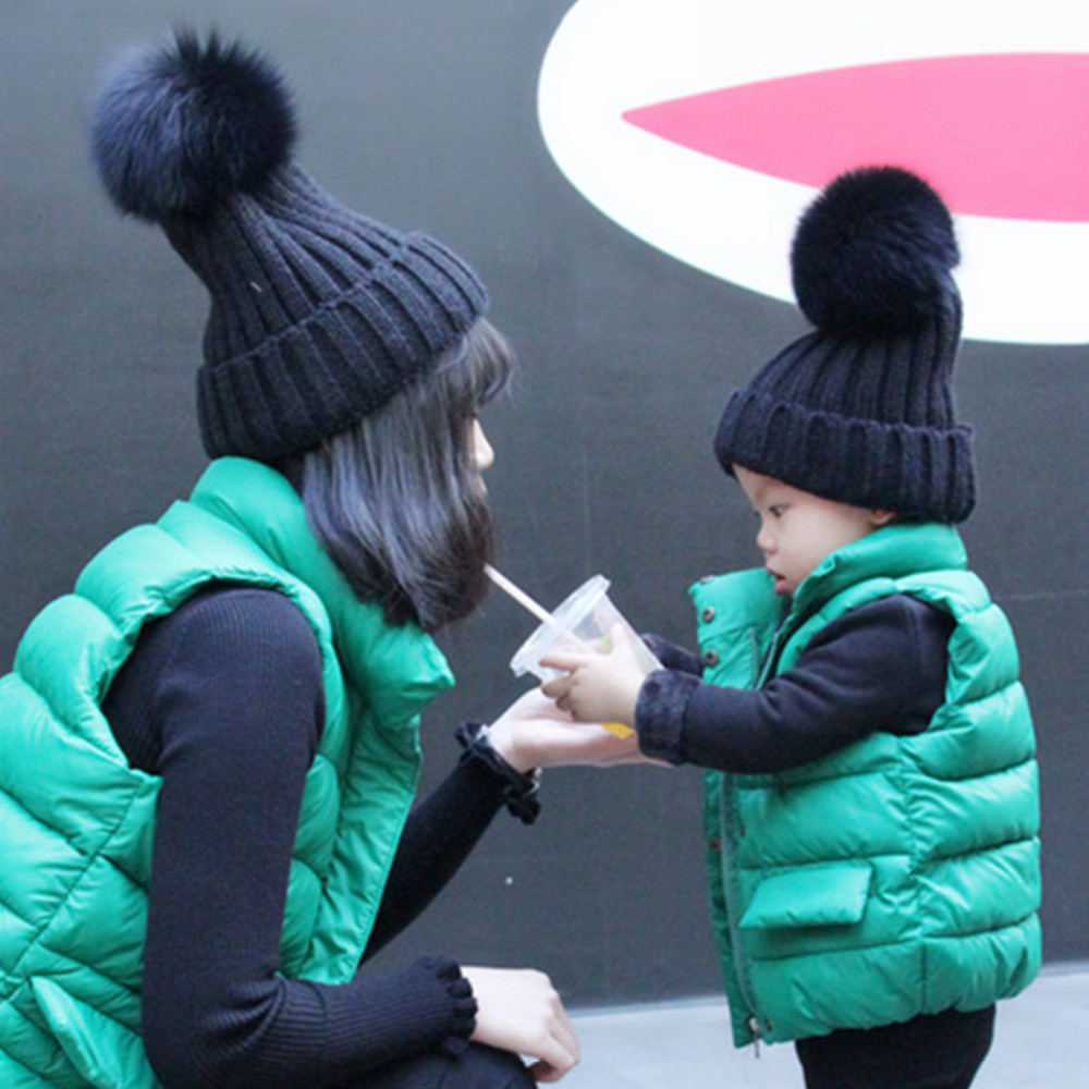 2pcs/Set Womens and Kids Hat Warm Beanie Hats Winter Fox Raccoon Fur Pompom Hat Female Cap Wool Knitted Beanies Gorros ChildОдежда и ак�е��уары<br><br><br>Aliexpress