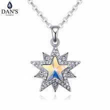 DAN'S Element Brand Hot Sale 4 Colors Real Austrian Crystals Fashion Star Pendant Necklace for Women Valentine Gift 127213(China)