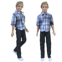 free shipping 2in1 suit Outfit Casual Wear shirt Clothes and pants for barbie boy firend for doll ken