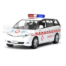 High Simulation Exquisite Model Toys: ShengHui Car Styling Toyota Previa Chinese 120 Ambulance 1:32 Alloy Car Model Best Gifts