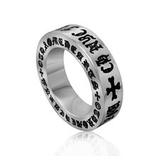 Titanium Stainless Steel Men's Jewelry Engraved Cool Retro Man Pinky Ring Hip hop Wholesale Price DLQ(China)