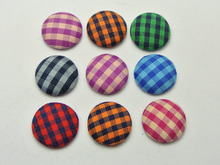 50 Mixed Color Flatback Grid Fabric Covered Buttons Round 16mm for DIY Hair Clip