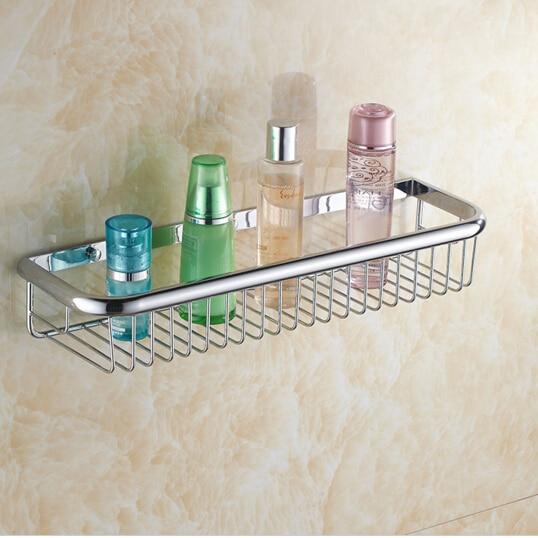 High quality total brass chrome 45 cm length bathroom shelves basket holder bathroom soap holder bathroom accessories<br>