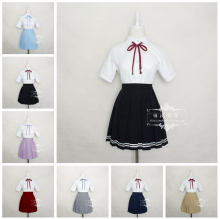 Japan Kawaii O-neck Collar England Style Cosplay Costume School Summer Sailor Uniform Dress Outfit New Free Shipping S-XXXL